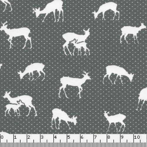 Tissu Jersey 95 % cot/5% El cerfs fond gris