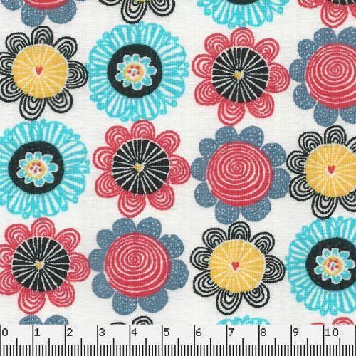 Tissu Jersey 95%cot/5%el fleurs fd blanc