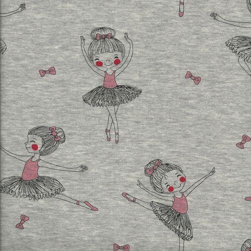 Tissu Sweat Danseuse rose fd gris