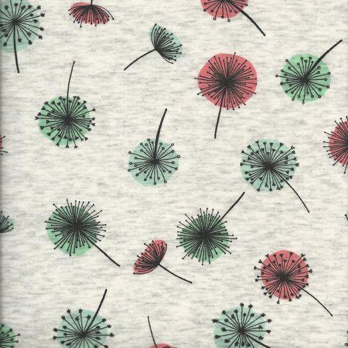 Tissu Sweat pissenlit rose/vert fd beige 40%cot/56%pol%/4%el
