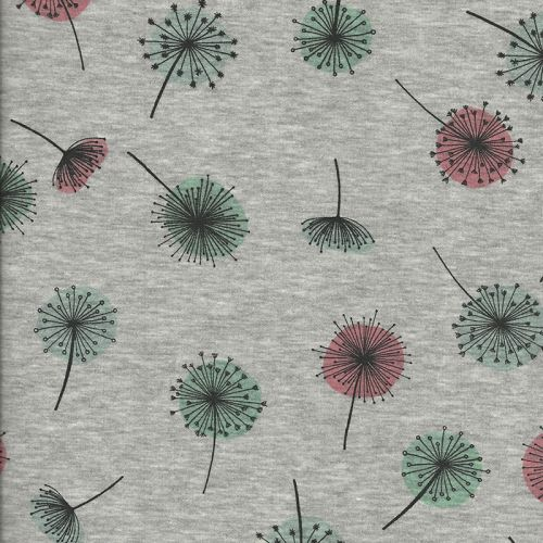 Tissu Sweat pissenlit rose/vert fd gris 40%cot/56%pol%/4%el