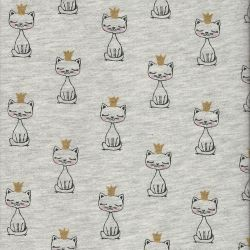 Tissu sweat chat royal beige 65%cot/35%pol larg 150 cm