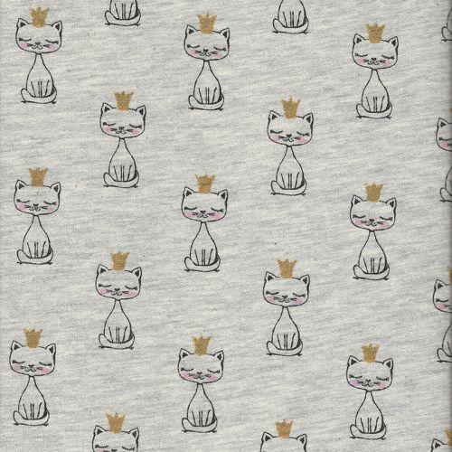 Tissu sweat chat royal beige 65%cot/35%pol larg 150 cm