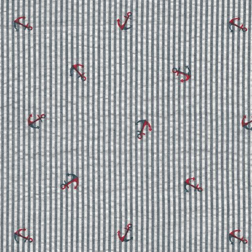 Tissu 100% coton Seersucker ancre larg 140cm