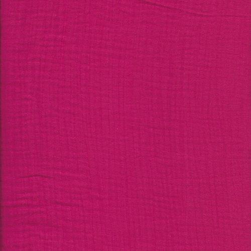 Tissu double gaze froissée rose larg 140cm