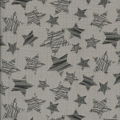 Tissu double gaze froissé étoiles fond taupe