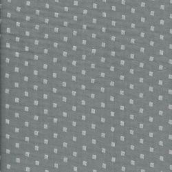 Tissu double gaze froissée imp gris  50%cot/50%pol