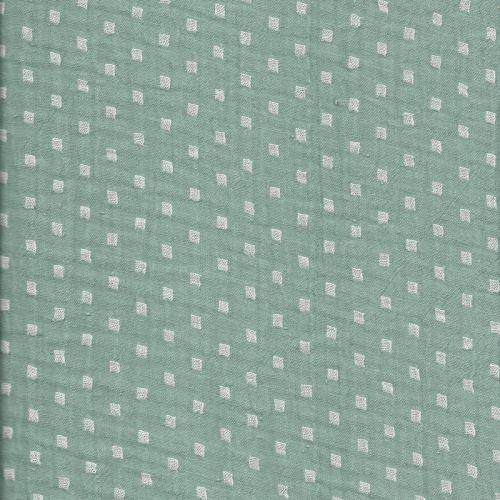 Tissu double gaze froissée imp vert  50%cot/50%pol