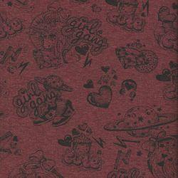 Tissu sweat licornes fond bordeaux 40%cot/56pl/4%el