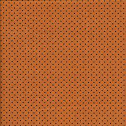 Tissu coton orange pois noirs