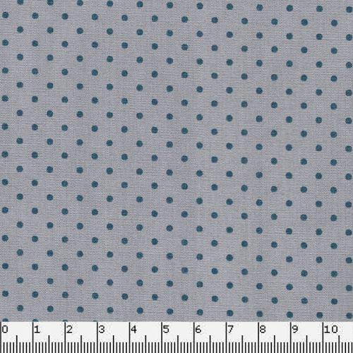 Tissu coton gris à pois bleus