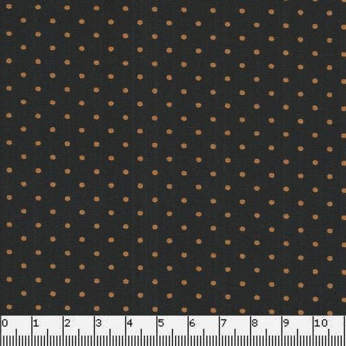 Tissu coton noir à pois oranges