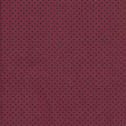 Tissu  coton bordeaux à pois noirs