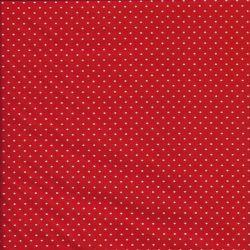 Tissu coton rouge pois blancs