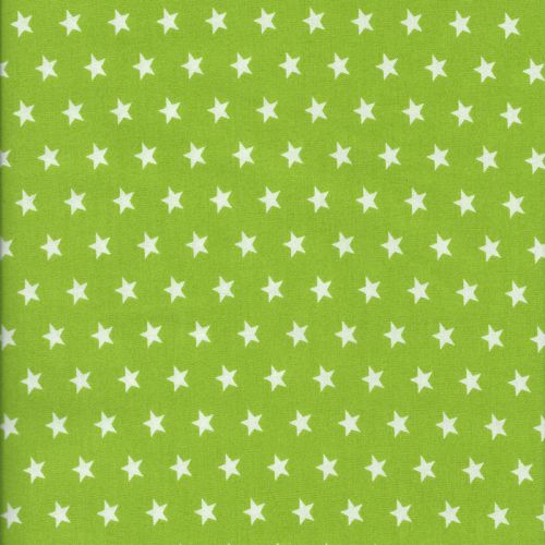 Tissu coton vert étoiles blanches
