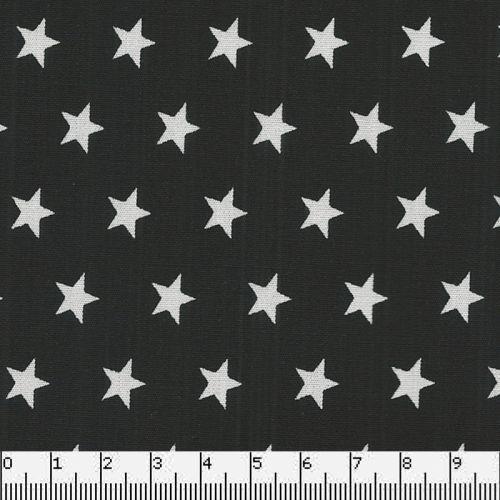 Tissu coton noir étoiles blanches