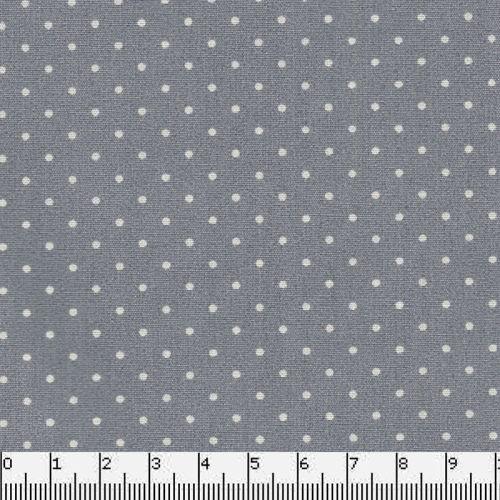Tissu coton gris pois blancs