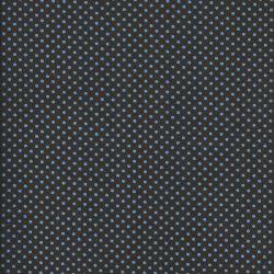 Tissu coton brun à pois bleus