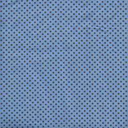 Tissu coton bleu à pois bruns