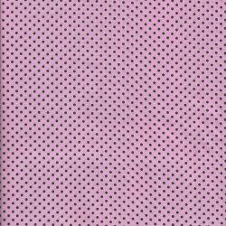 Tissu coton rose à pois brun