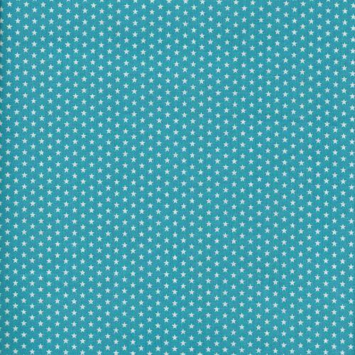 Tissu coton turquoise à étoiles blanches
