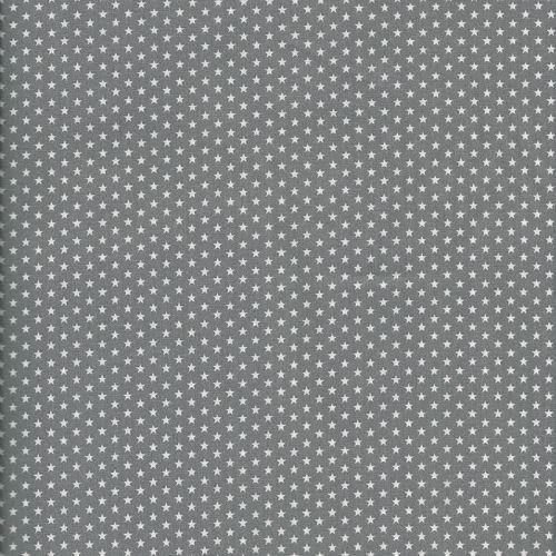 Tissu coton gris à étoiles gris