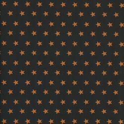 Tissu coton noir à étoiles oranges