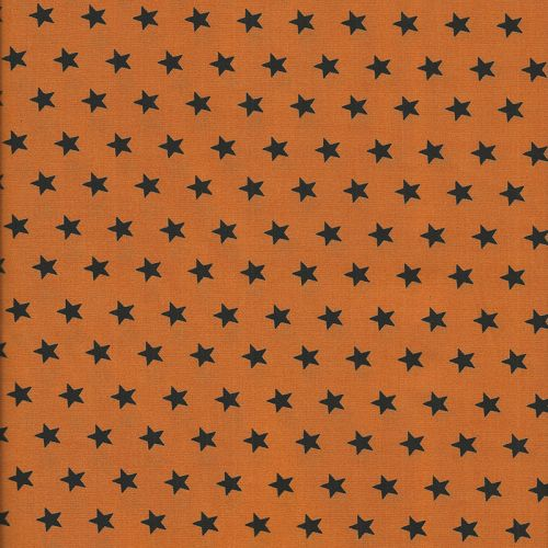 Tissu coton orange à étoiles noires
