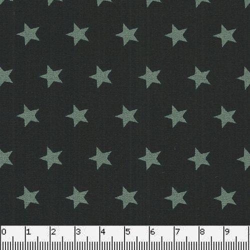 Tissu coton noir à étoiles vertes