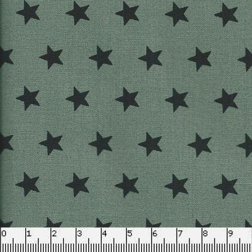 Tissu coton vert à étoiles noires