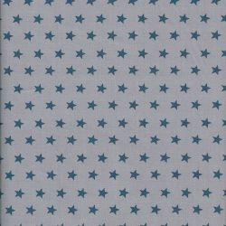 Tissu coton gris à étoiles bleues