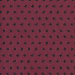 Tissu coton rouge à étoiles noires