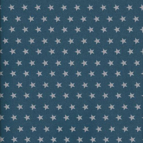 Tissu coton bleu à étoiles grises
