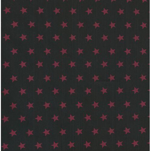 Tissu coton noir à étoiles rouges