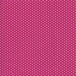 Tissu coton rose à étoiles blanches