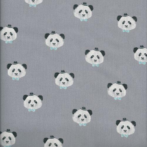 Tissu coton pretty panda gris