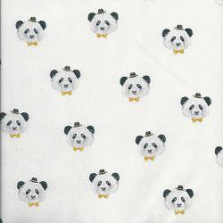 Tissu coton pretty panda blanc