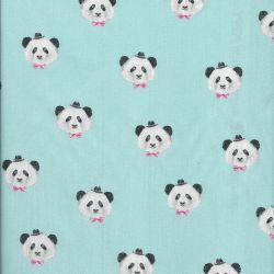 Tissu coton pretty panda bleu