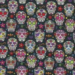 Tissu coton têtes de mort fond noir