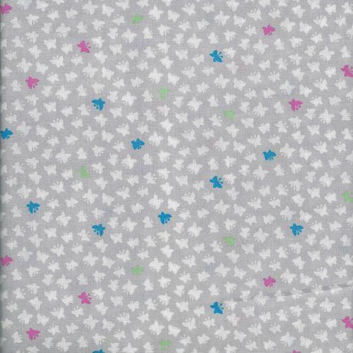 Tissu coton papillons fond gris