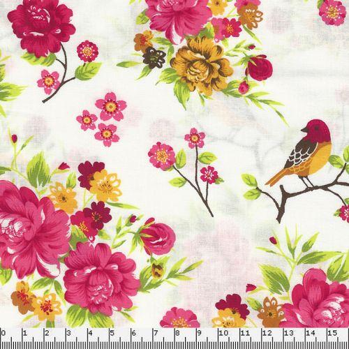 Tissu coton pop fleurs fond blanc