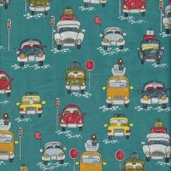 Tissu coton pop véhicules fond bleu canard