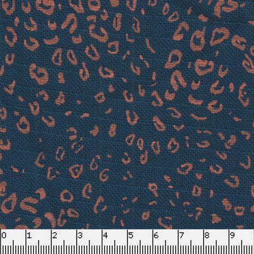 Tissu double gaze bambou bleu