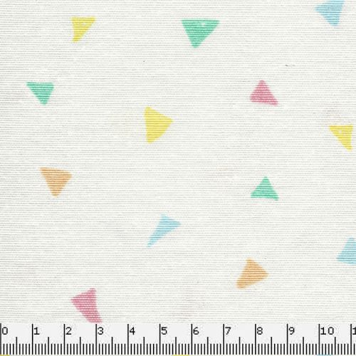 Tissu triangles multi fond blanc