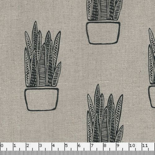 Tissu 55%lin/45%cot sarah golden tiger plant Mako