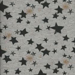 Tissu Poppy sweat étoiles glitter grise fd gris