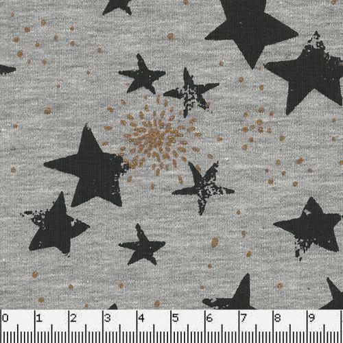 Tissu Poppy sweat étoiles glitter grise fd gris 60%cot/35%pl