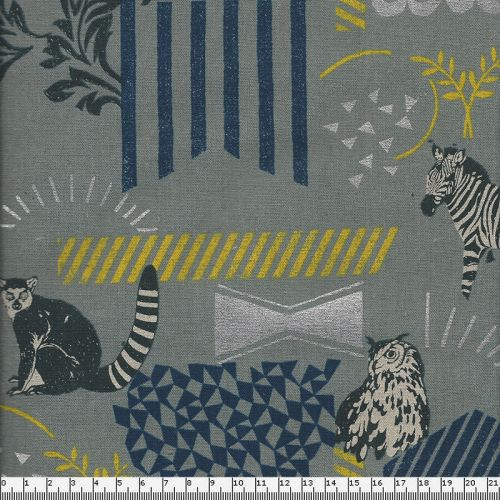Tissu 45% cot 55% lin Echino on grey