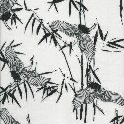 Tissu viscose Japan white black larg 140cm