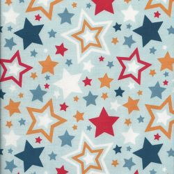 Tissu Riley Blake Lucky Star fond bleu
